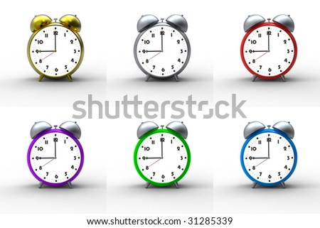 Collection of colorful alarm clocks on white background