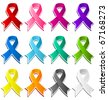 Collection of colorful awareness ribbons. - stock photo