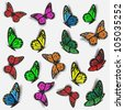 Collection of colorful butterflies.Raster version - stock photo