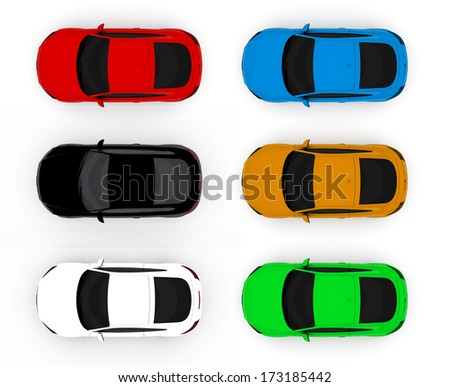 Collection of colorful cars isolated on a white background - stock photo