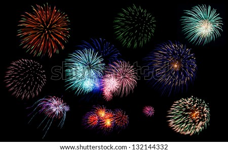 Collection of colorful festive fireworks  sparklers  salute and petards explosions isolated over black night sky background as design elements - stock photo