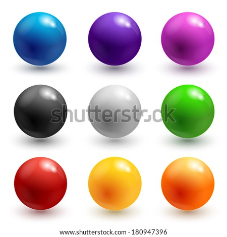 Collection of colorful glossy spheres isolated on white. Illustration for your design. - stock photo