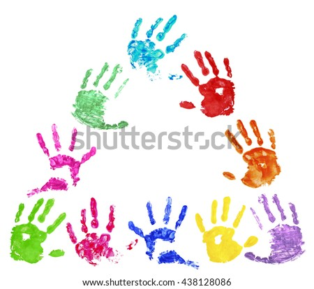 Collection of colorful hand prints, isolated on white background