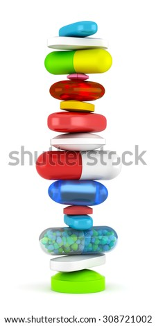 Collection of colorful pills - stock photo