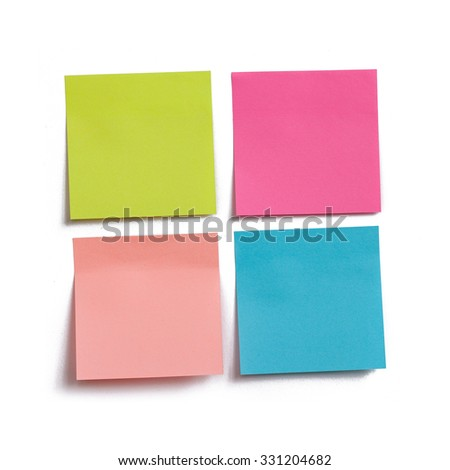 Collection of colorful post it paper note on white background macro, square. Poster for text