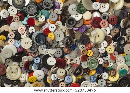 Collection of colorful sewing buttons full frame