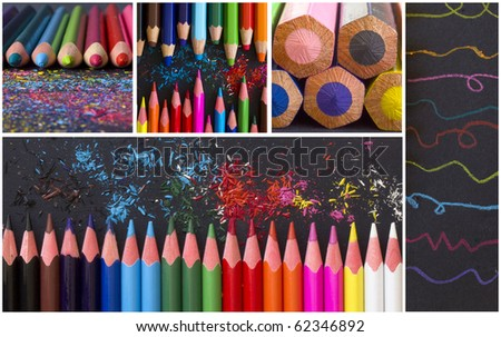collection of colorful wooden pencils and shavings - stock photo
