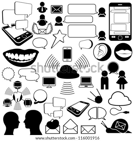 Collection of communications icons - stock photo