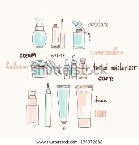 collection of cosmetics and creams