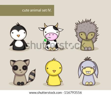 Collection of cute animals - stock photo