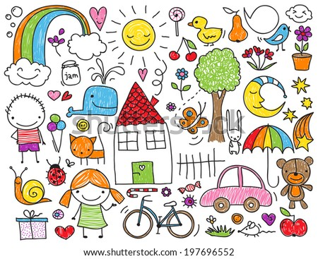 ... children's drawings of kids, animals, nature, objects - stock photo