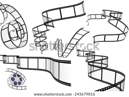 Collection of 3d filmstrips. Objects isolated on white background