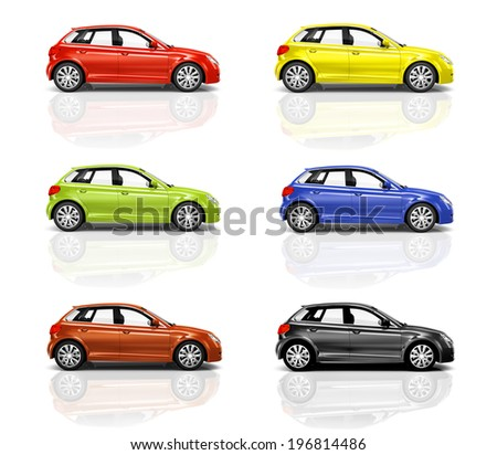Collection of 3D Hatcback Cars - stock photo