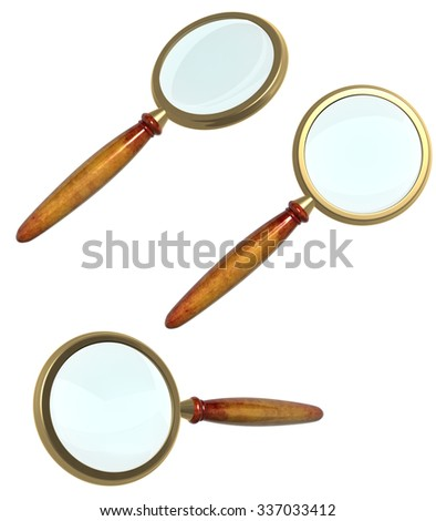 Collection of 3d loupe. Object isolated on white background. Can be used for web design - stock photo