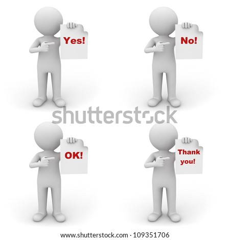 Collection of 3d man holding paper with red word yes, no, ok and thank you on white background - stock photo