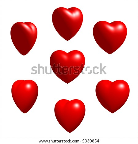 Collection of 3D Rendered Well-lit Hearts - stock photo