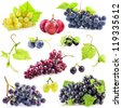 Collection of Dark and red grapes with leaves, Isolated on white background - stock photo