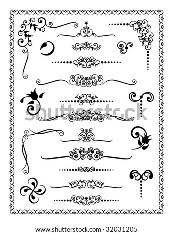 Collection #2 of decorative borders, dividers and ornaments. - stock photo