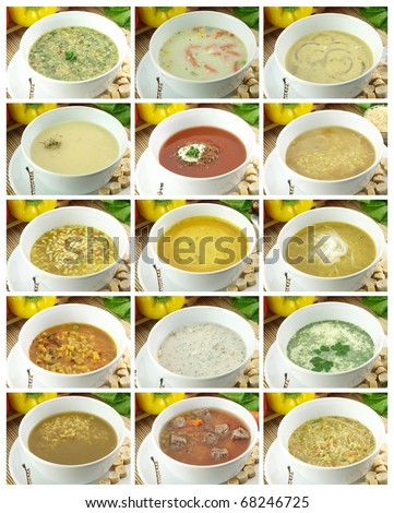 Collection of delicious and healthy soups - stock photo
