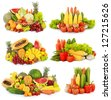 collection of delicious fresh fruits and vegetables isolated on white background - stock photo