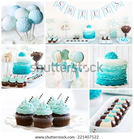 Collection of dessert table images - stock photo