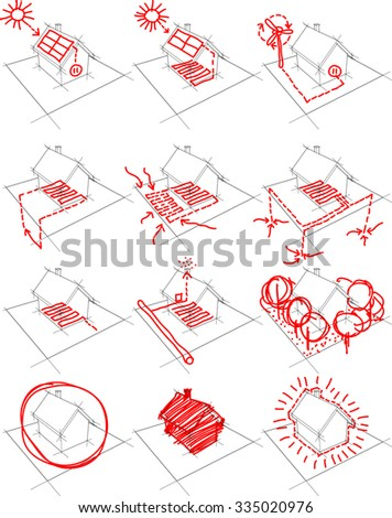 collection of 12 diagrams of a simple detached house showing possibilities of alternative energy solutions such as photovoltaic panels, wind turbines and heat pump - stock photo