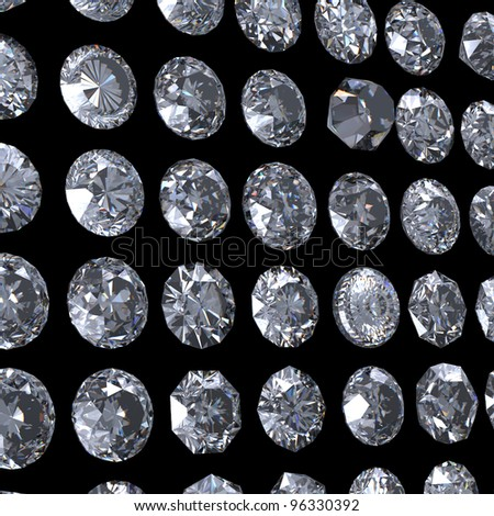 Collection of  diamond.  Background with round  gemstone