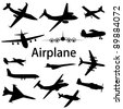 Collection of different airplane silhouettes. Raster version - stock vector