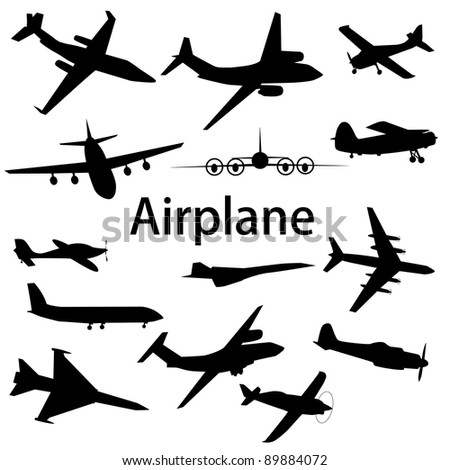 Collection of different airplane silhouettes. Raster version - stock photo