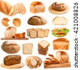 Collection of different bread isolated on white background - stock photo