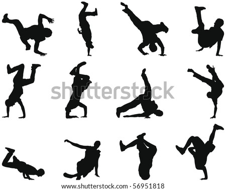 Collection of different break-dance silhouettes - stock photo