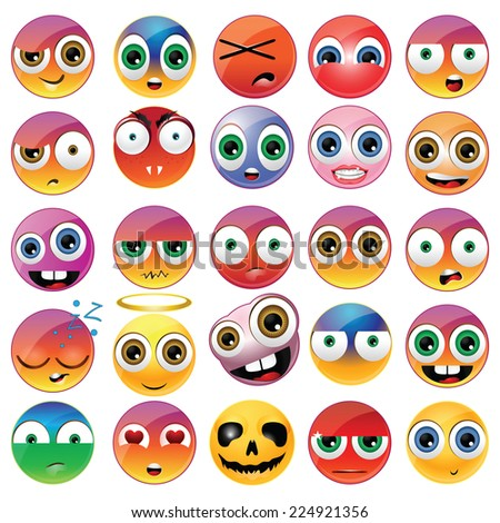 Collection of different emoji faces - stock photo