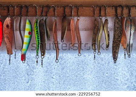 Collection of different fishing hooks - stock photo