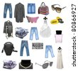 Collection of different kinds of clothes isolated on white - stock photo