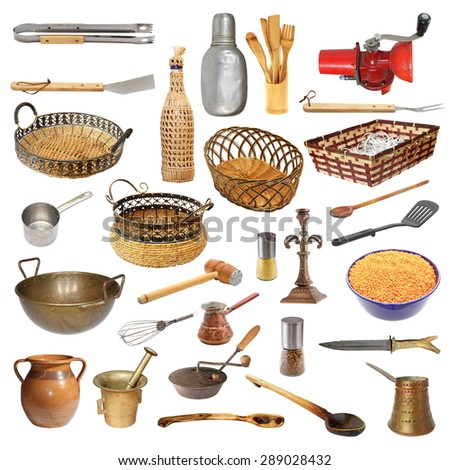 collection of different kitchen utensils and objects isolated over white background - stock photo
