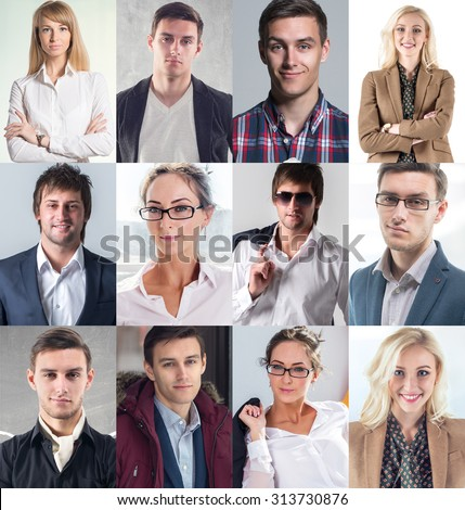 Collection of different many happy smiling young people faces caucasian women and men. Concept business, avatar - stock photo