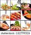 Collection of different meat dishes - soup, BBQ, porky,beef,salad,sea food - stock photo