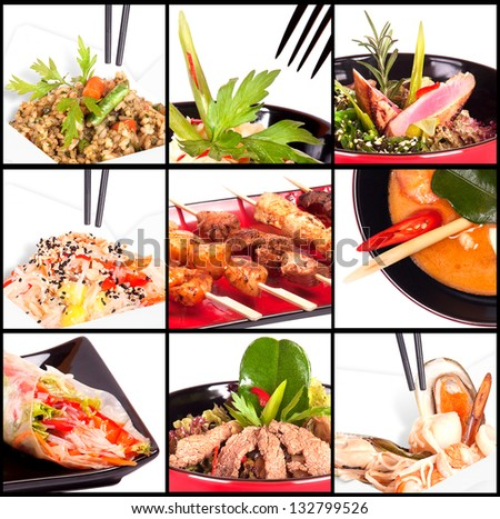 Collection of different meat dishes - soup, BBQ, porky,beef,salad,sea food