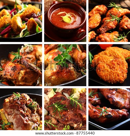 Collection of different meat dishes - soup, schnitzel, BBQ, chicken wings - stock photo