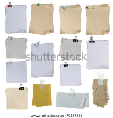 collection of different paper on white background. each one shot separately - stock photo