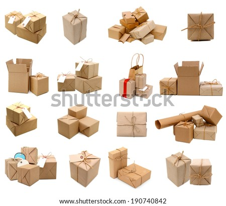 Collection of 16 different parcels  - stock photo