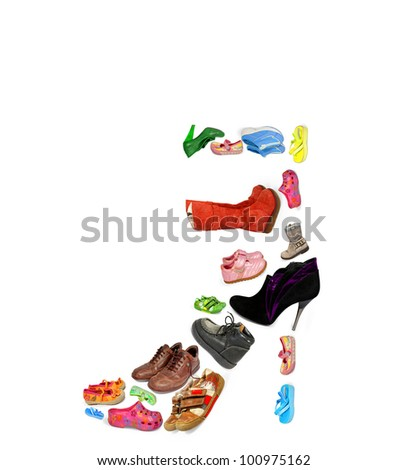 collection of different shoes isolated - stock photo