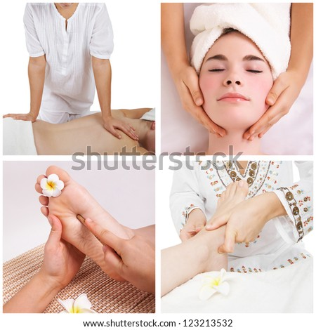 Collection of different spa massage and relax