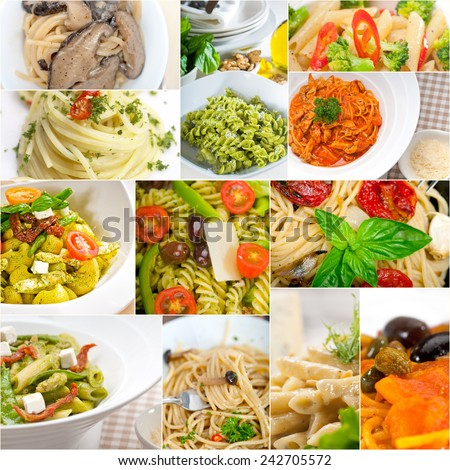 collection of different type of Italian pasta on collage white frame - stock photo