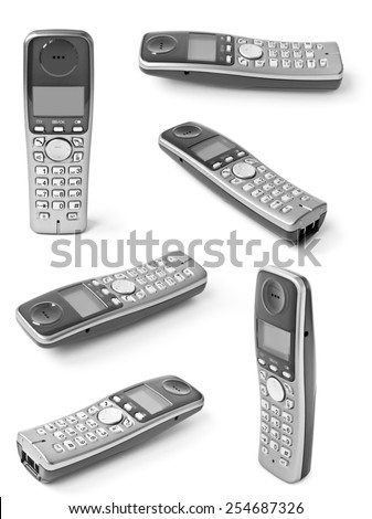 Collection of digital cordless answering system isolated on white - stock photo