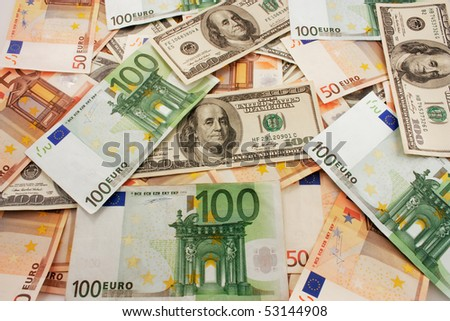 collection of dollars and euros for the background - stock photo