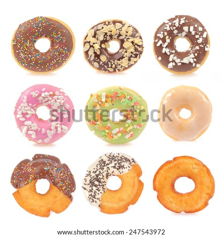 Collection of donuts isolated on white background - stock photo
