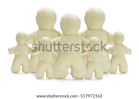 Collection of Dummy Figurines on White Background