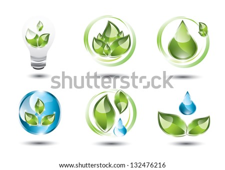 Collection of eco icons - stock photo