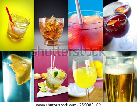 Collection of eight images of assorted alcoholic drinks - stock photo